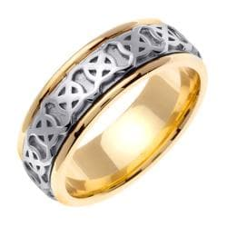 14k Two-Tone Gold Men's Celtic XO Design Wedding Band - Thumbnail 1