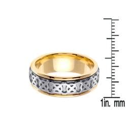 14k Two-Tone Gold Men's Celtic XO Design Wedding Band - Thumbnail 2