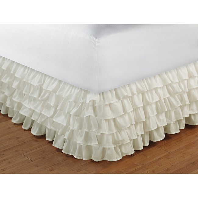 Greenland Home Fashions Multi-Ruffle Ivory 15-inch Drop Bedskirt - Thumbnail 0