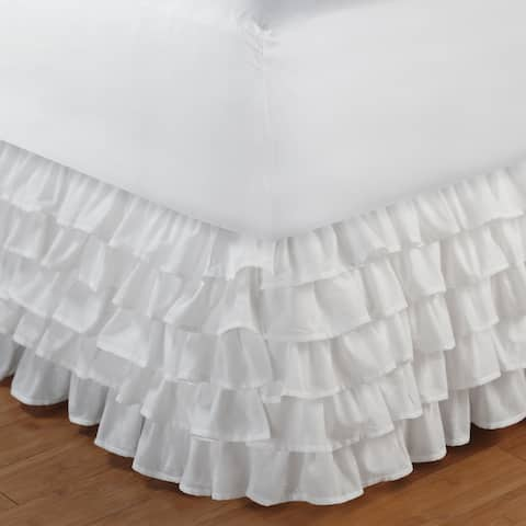 Greenland Home Fashions Multi-ruffle White 15-inch Drop Bedskirt