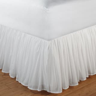 Greenland Home Fashions White Gathered Cotton Voile 18-inch-drop Bedskirt with Polyester Liner|https://ak1.ostkcdn.com/images/products/6470889/P14066285.jpg?impolicy=medium