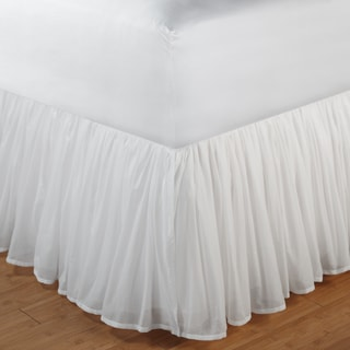 greenland home fashions white gathered cotton voile 18inchdrop bedskirt with polyester liner