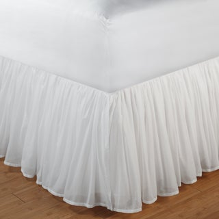 Greenland Home Fashions White Gathered Cotton Voile 18-inch-drop Bedskirt with Polyester Liner (4 options available)