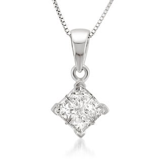Montebello 14k White Gold 1/2ct TDW Diamond Composite Necklace (H-I, I1-I2)