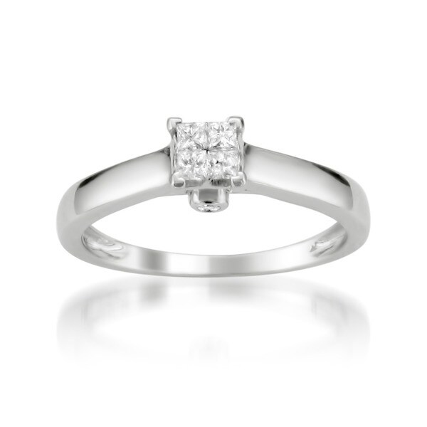 Montebello 10k White Gold 1/5ct TDW Princess Cut Composite Diamond Ring (H-I, I1-I2)