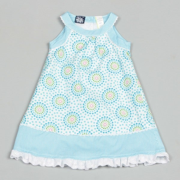 So La Vita Girl's Blue Cotton Dress