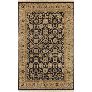 Hand-knotted Black Cucuzza New Zealand Wool Rug (2' x 3')