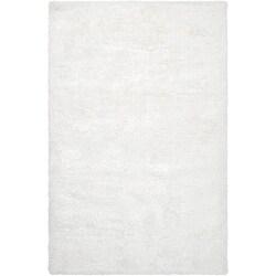Hand-woven White Taro Super Soft Shag Rug (8' x 10')