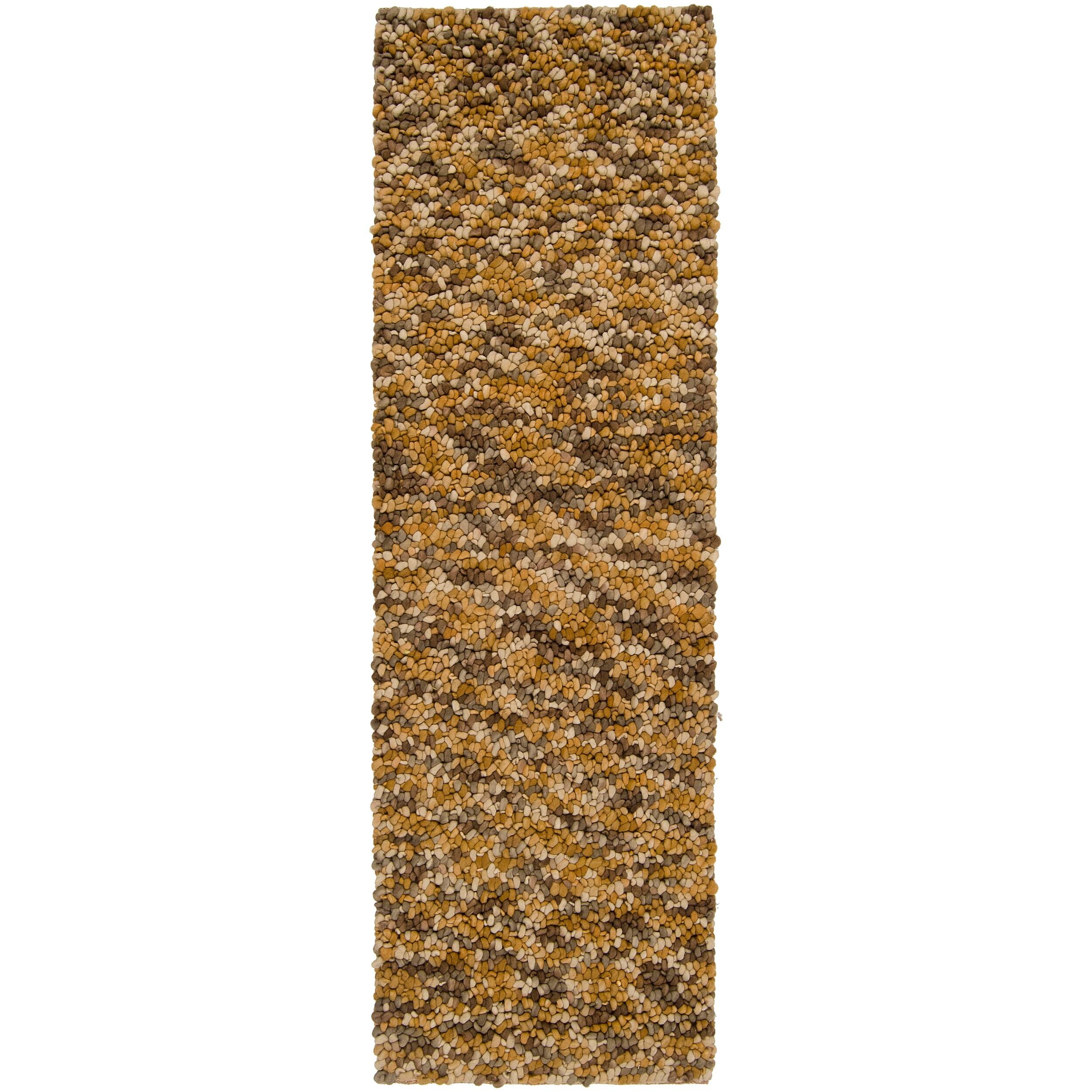 Hand-woven Gold Arracacha New Zealand Wool Plush Shag Rug (2'6 x 8')