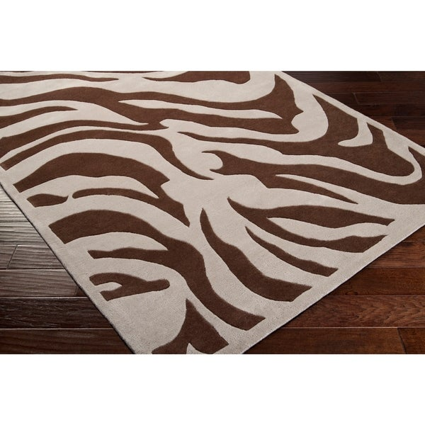 Hand Tufted Brown White Zebra Animal Print Kiwano Wool Area Rug 2 6 X 8 Runner Free Shipping Today 6471027