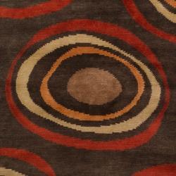 Hand-knotted Brown Circles Damas Wool Geometric Rug (9' x 13')