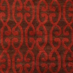 Hand-knotted Wool Scarlet Tenzin Rug (8' x 11')