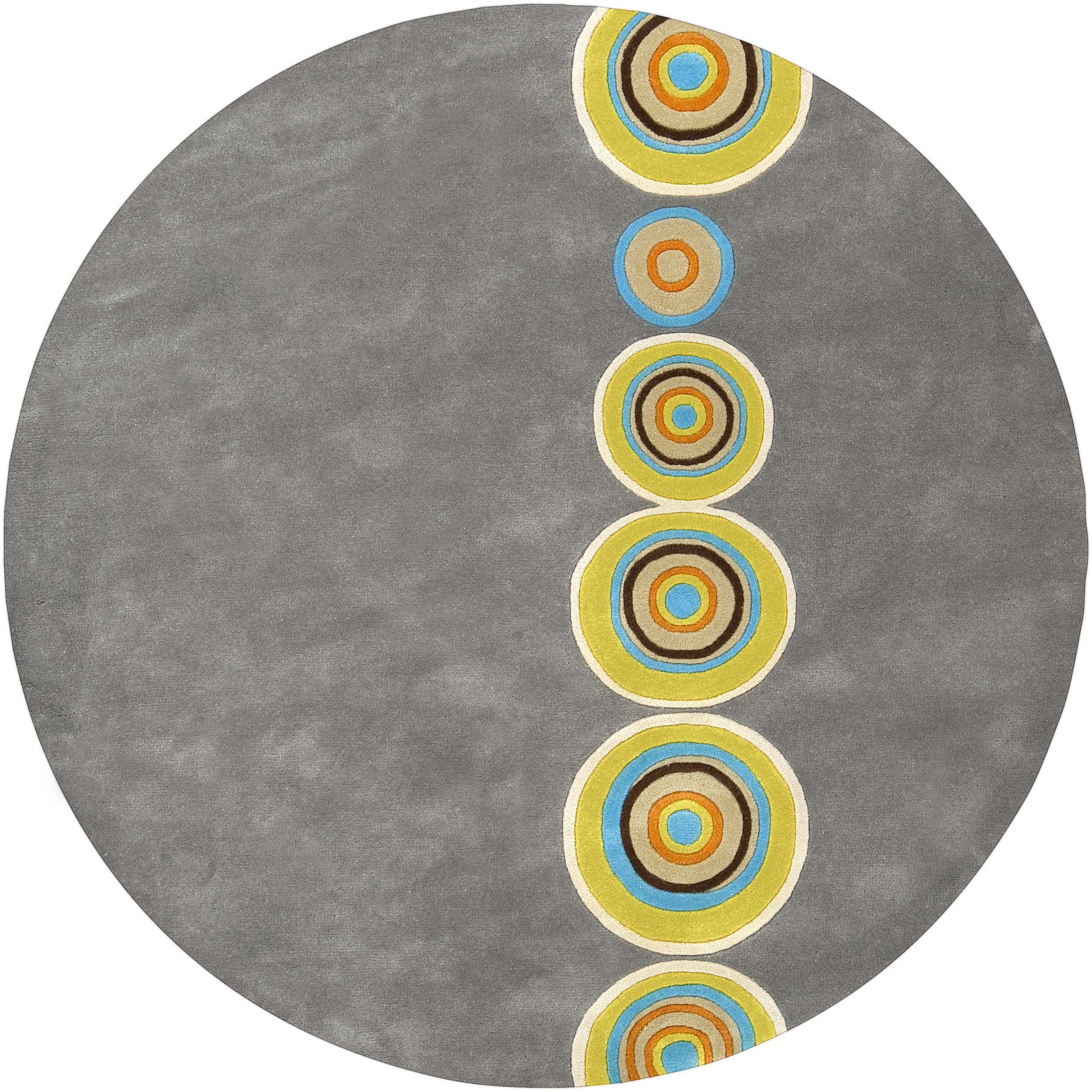 Palm Canyon Tecopa Hand-tufted Multicolored Circles Geometric Dames New Zealand Wool Area Rug - 6' Round