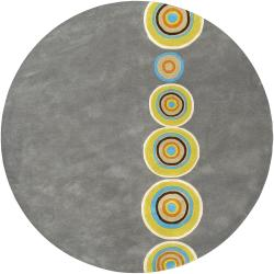 Palm Canyon Tecopa Hand-tufted Multicolored Circles Geometric Dames New Zealand Wool Area Rug - 6' Round - Thumbnail 0