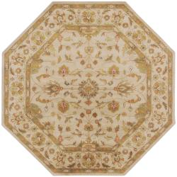 Hand-tufted Chare Ivory Floral Border Wool Rug (8' Round)