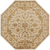 Hand-tufted Chare Ivory Floral Border Wool Area Rug (8' Round)
