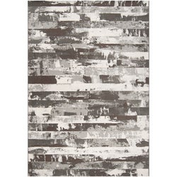 Black Streyay Abstract Area Rug - 7'10 x 10' - Thumbnail 0