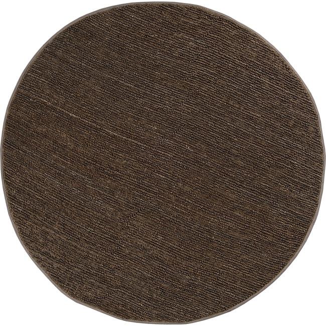 Hand-woven Aubergine Gali Natural Fiber Jute Rug (8' Round)