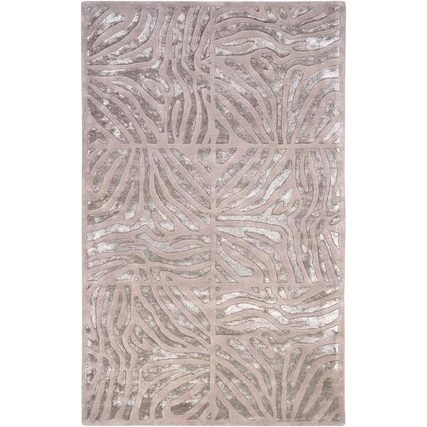 Shop Hand-tufted Beige Zebra Animal Print Socrats Wool