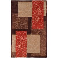 Hand Tufted Canonical Brown Floral Squares Area Rug (9' x 13') - 9' x 13'