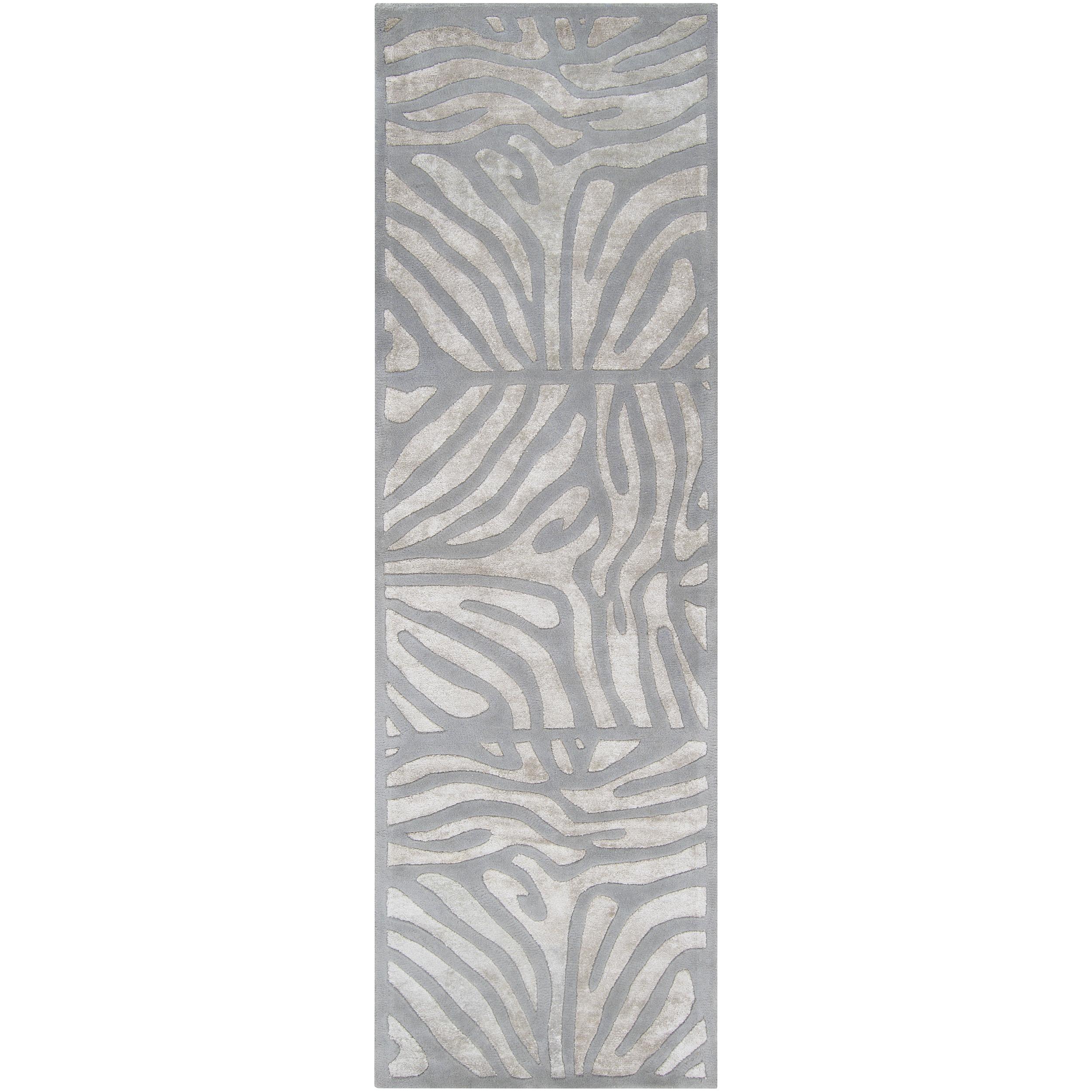 Hand-tufted Grey Zebra Animal Print Dali Wool Area Rug (2'6 x 8')