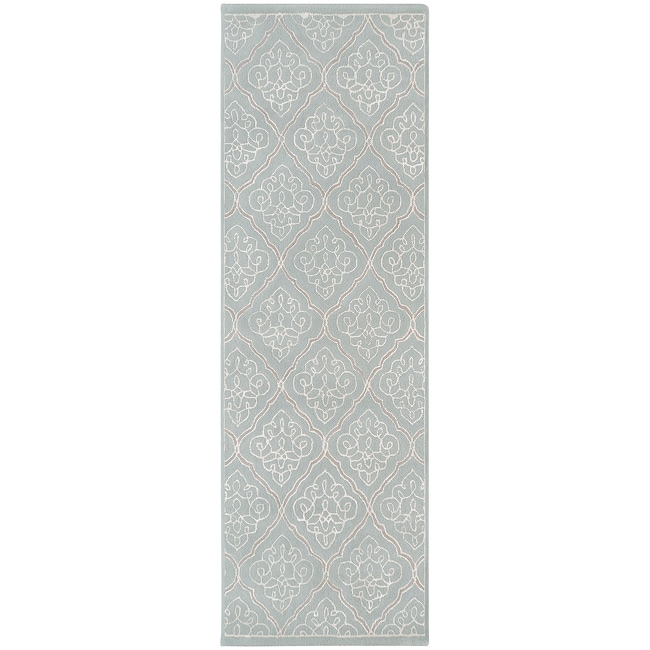 Hand-tufted Geometric Wool Grey Bahaullah Rug (2'6 x 8')