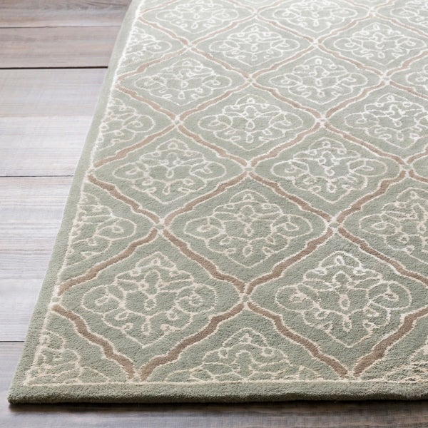 Hand-tufted Geometric Wool Grey Bahaullah Area Rug - 2'6 x 8'