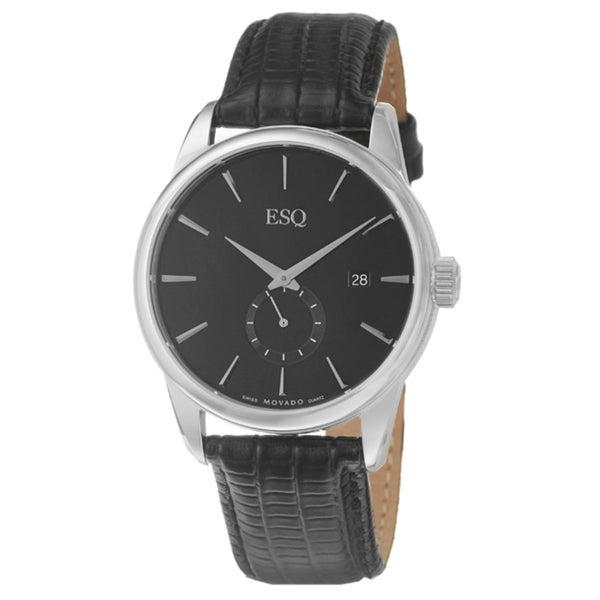 ESQ by Movado Men's 'Chronicle' Stainless Steel and Leather Quartz Watch. Opens flyout.