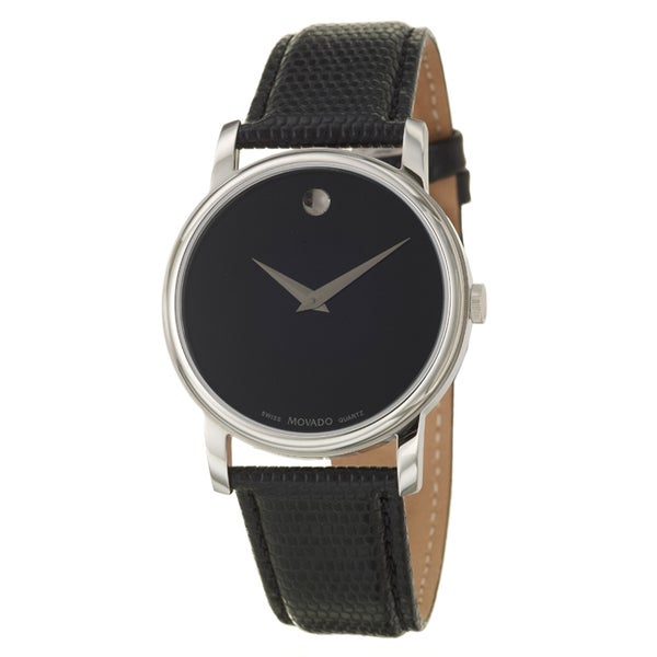 Movado Collection Mens or Womens Stainless Steel and Leather Quartz Watch