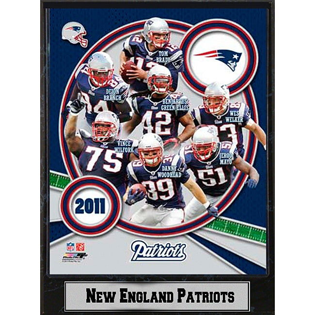 2011 New England Patriots 9 X 12 Team Plaque