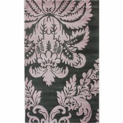 nuLOOM Handmade Damask Grey New Zealand Wool Rug (7'6 x 9'6)