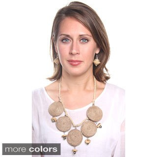 Handmade Jute Bead Necklace (India)