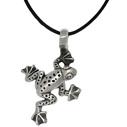 Carolina Glamour Collection Gray Antiqued Pewter Jumping Frog Necklace with Black Leather Cord