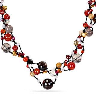 Miadora  Multi-colored Pearl and Gemstone 3-strand Necklace