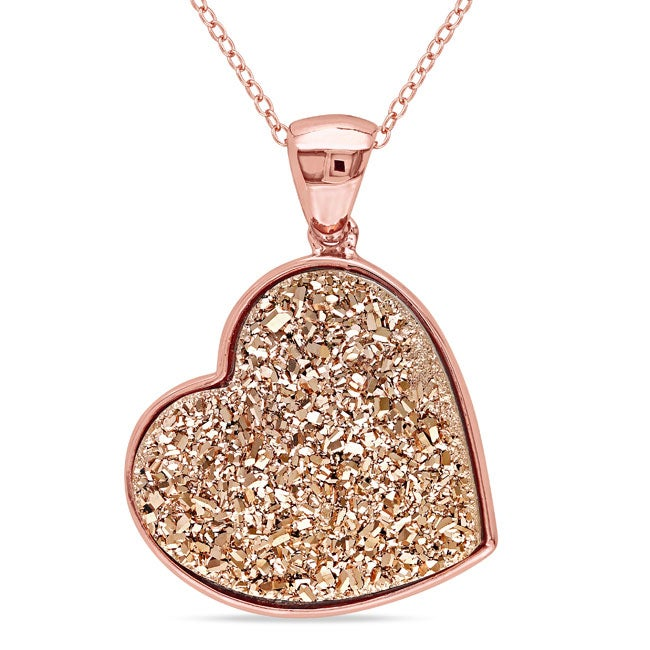 Miadora  Pink-Plated Sterling Silver Rose Druzy Heart Necklace