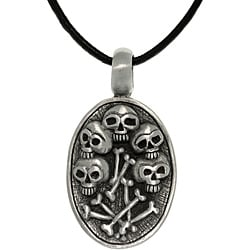Carolina Glamour Collection Pewter Unisex Skulls and Bones Necklace