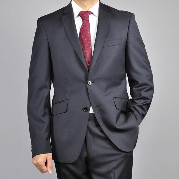 Mens Black 2-Button Wool Slim-Fit Suit