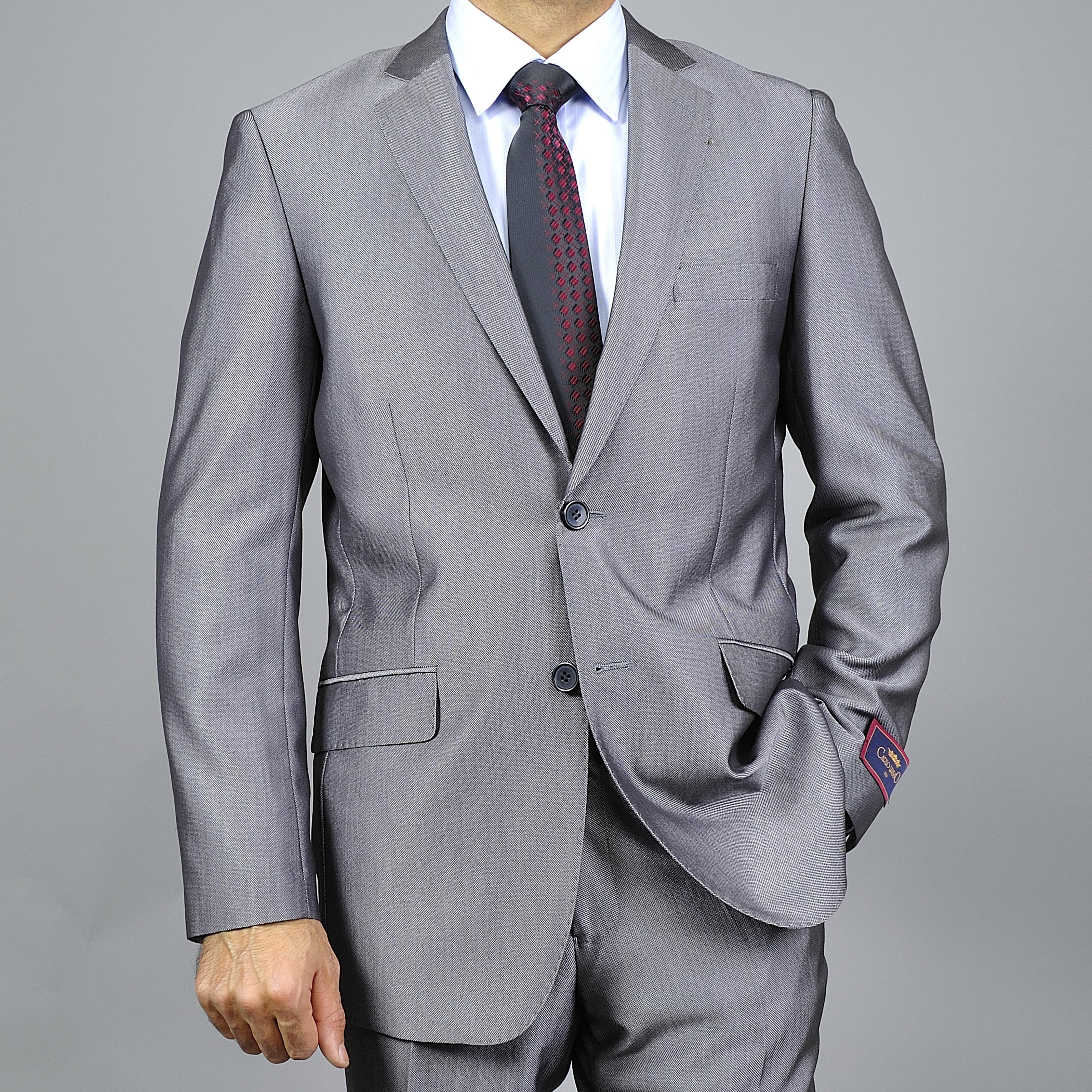 Men's Slim-Fit Silver Grey 2-Button Suit