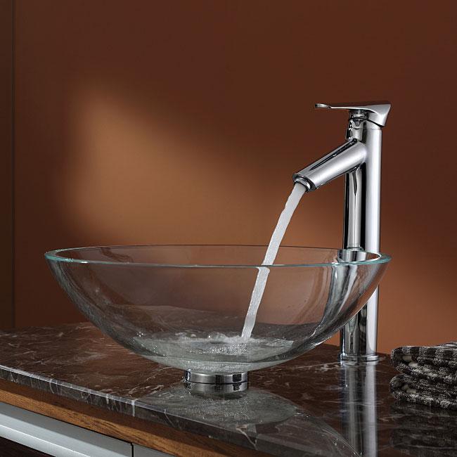 Kraus Bathroom Combo Set Crystal Clear Glass Vessel Sink/Faucet Chrome