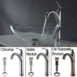 KRAUS Glass Vessel Sink in Crystal Clear with Riviera Faucet in Chrome