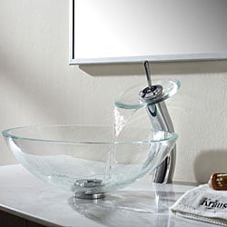 KRAUS Glass Vessel Sink in Crystal Clear with Waterfall Faucet in Satin Nickel