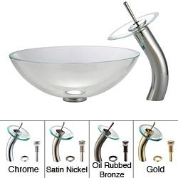 KRAUS Glass Vessel Sink in Crystal Clear with Waterfall Faucet