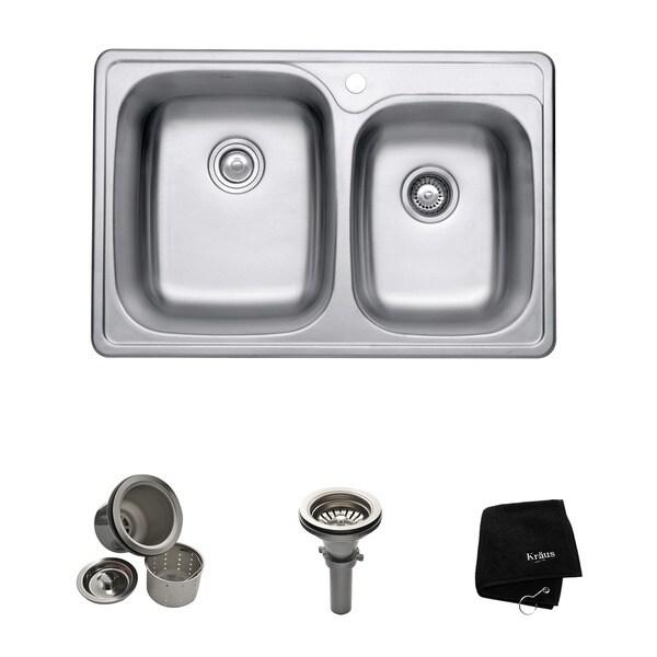 kraus 33 inch topmount 60 40 double bowl 18 gauge stainless steel kitchen sink kraus 33 inch topmount 60 40 double bowl 18 gauge stainless steel      rh   overstock com