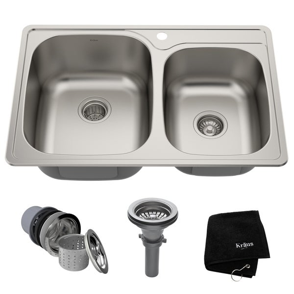 Kraus KTM32 Drop-in 33-in 18G 60/40 2-Bowl Stainless Steel Kitchen Sink, NoiseDefend Soundproofing, Strainers, Towel