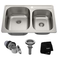 Kraus KTM32 Drop-in 33-inch 18 gauge 60/40 Double Bowl Satin Stainless Steel Kitchen Sink with NoiseDefend Soundproofing