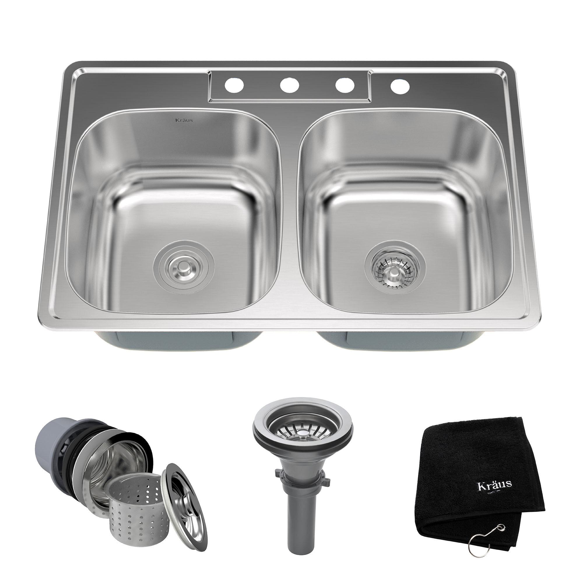 Kraus KTM33 Topmount Drop-in 33 in 2-Bowl Stainless Steel Kitchen Sink