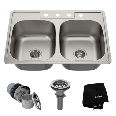 Kraus KTM33 Drop-in 33-inch 18 gauge 50/50 Double Bowl Satin Stainless Steel Kitchen Sink with NoiseDefend Soundproofing