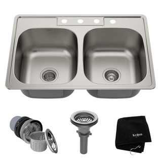 KRAUS 33 Inch Topmount 50/50 Double Bowl 18 Gauge Stainless Steel Kitchen Sink with NoiseDefend Soundproofing