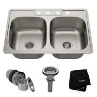 Kraus KTM33 Drop-in 33-in 18G 50/50 2-Bowl Stainless Steel Kitchen Sink, NoiseDefend Soundproofing, Strainers, Towel