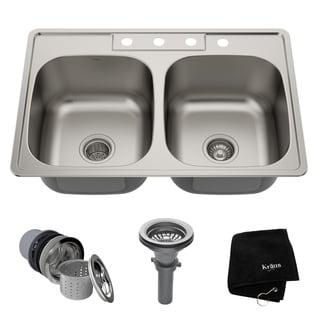drop in kitchen sink. Kraus KTM33 Drop-in 33-inch 18 Gauge 50/50 Double Bowl Satin Drop In Kitchen Sink N